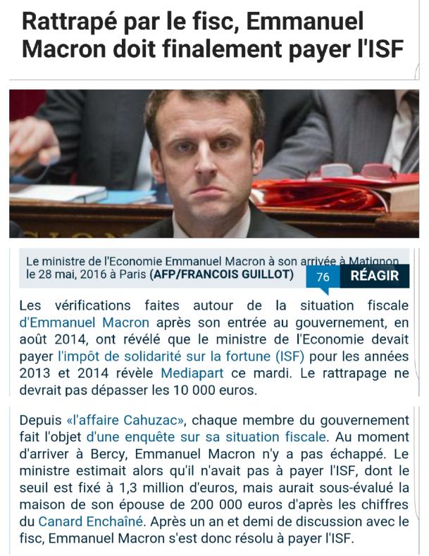 Macron rattrapé par le fisc ISF